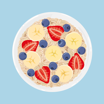 Oat Flakes In A Bowl With Banana Blueberries And Strawberries Isolated Top View Vector Hand Drawn Illustration - Arte vetorial de stock e mais imagens de Alimentação Saudável