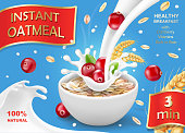 Oat flakes with cranberry, oatmeal advertising with milk splash.