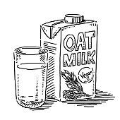 Oat Milk Glass Vegan Drink Drawing