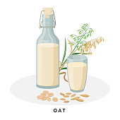 istock Oat milk in jug and glass. Plant milk, vegan milk concept. Vector illustration isolated on white background. Alternative milk and ingredients. 1315876059