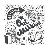 Oat milk lettering with doodle illustrations. Original, vegan, natural hand drawn vector typography. Morning meal, breakfast sketch. Healthy, diet nutrition print, banner, poster, textile design