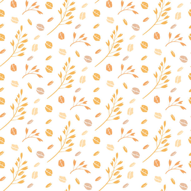 ilustrações de stock, clip art, desenhos animados e ícones de oat pattern vector. seamless pattern with oat flakes on white background. hand drawn illustration. spikes and grains of oats, glass with oat milk, carton box and glass jar of milk. - oats