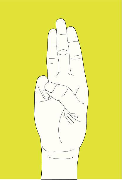 Oath Hand Gesture vector art illustration
