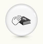 Oath icon on white round vector button
