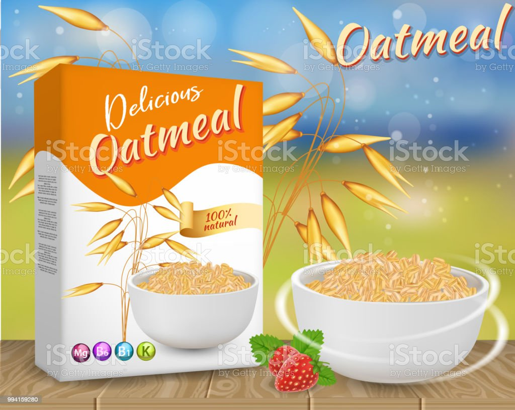 Oatmeal ads vector realistic illustration - Royalty-free Alimentação Saudável arte vetorial