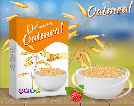Oatmeal Ads Vector Realistic Illustration - Arte vetorial de stock e mais imagens de Alimentação Saudável