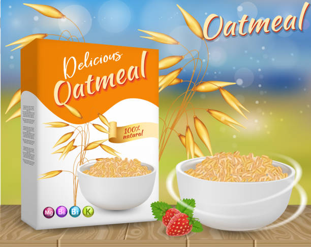 Oatmeal ads vector realistic illustration Oatmeal ads. Vector realistic illustration of oat flake carton box package mockup, bowl of oat flakes and oat ears. cereal plant stock illustrations