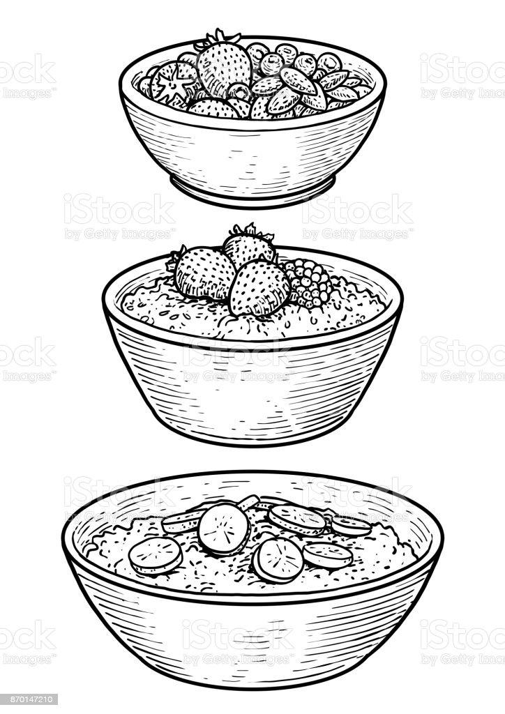 Oatmeal illustration, drawing, engraving, ink, line art, vector vector art illustration