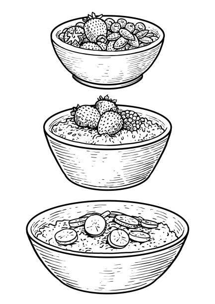ilustrações de stock, clip art, desenhos animados e ícones de oatmeal illustration, drawing, engraving, ink, line art, vector - tigela