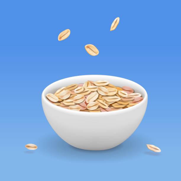 ilustrações de stock, clip art, desenhos animados e ícones de oatmeal muesli in white bowl realistic illustration - ilustrações de oats