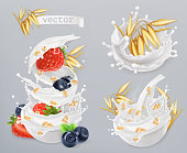 Oatmeal. Oat grains, strawberry, blueberry and milk splashes. 3d realistic vector icon set