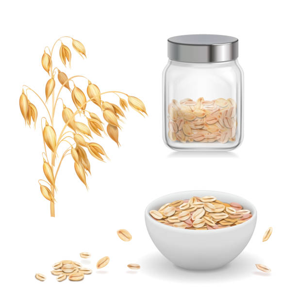 ilustrações de stock, clip art, desenhos animados e ícones de oats, oat flakes in glass. oatmeal and muesli in white bowl realistic vector icon - aveia