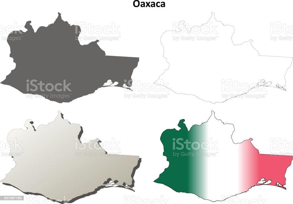 oaxaca blank outline map set royalty free oaxaca blank outline map set stock vector art
