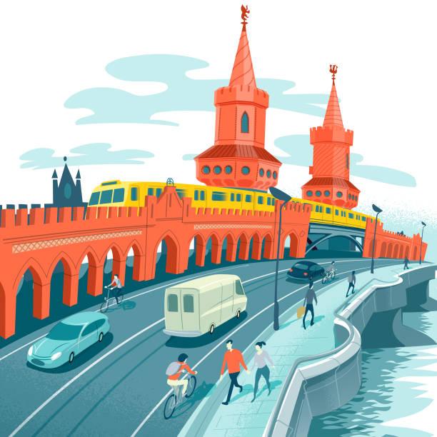 bildbanksillustrationer, clip art samt tecknat material och ikoner med oberbaum bron - berlin city