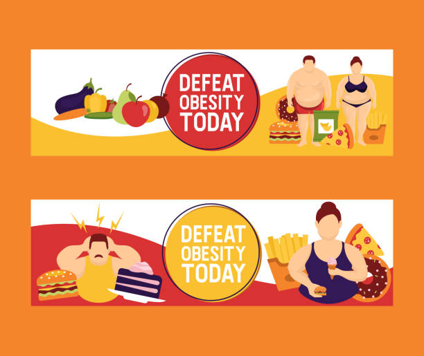 ilustrações de stock, clip art, desenhos animados e ícones de obesity concept set of banners vector illustration. make your choice between healthy and junk food. defeat obesity today. fat people with fast food such as burger, pizza, french fries. - fail cooking