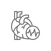 Vector obesity heart, visceral fat, heart attack line icon. Symbol and sign illustration design. Isolated on white background