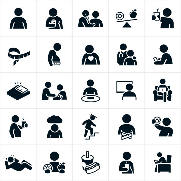 Obesity Icons A set of overweight and obesity icons. The icons show several people who are overweight or obese. Some of the icons show these individuals overeating, drinking soda, eating a doughnut, being lazy, watching television, sitting at computer, eating junk-food and living sedentary lifestyles. exhaustion stock illustrations
