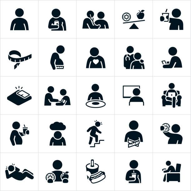 ilustrações de stock, clip art, desenhos animados e ícones de obesity icons - eating