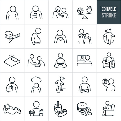 A set of overweight and obesity issues icons that include editable strokes or outlines using the EPS vector file. The icons include an obese person, obese man drinking a soda, obese person having heart checked by a doctor using a stethoscope, donut and apple on a scale, tape measure, heavy person using a tape measure to measure waist line, obese person getting a medical checkup, obese person struggling to jump rope, weight scale, person getting the blood pressure checked, heavy person at dinner table, person sitting and watching television, person in a chair on computer, person seated in a chair and watching device, obese person holding a fountain drink, depressed overweight person, overweight person sweating while climbing stairs, heavy person eating a doughnut, overweight person sweating while do a sit-up, hotdog and sod, hamburger and fries and other related icons.