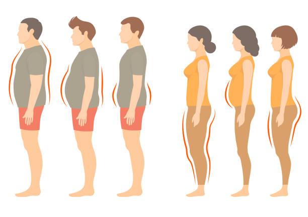 Adipositas-Frau und Mann-Körper-Typ – Vektorgrafik