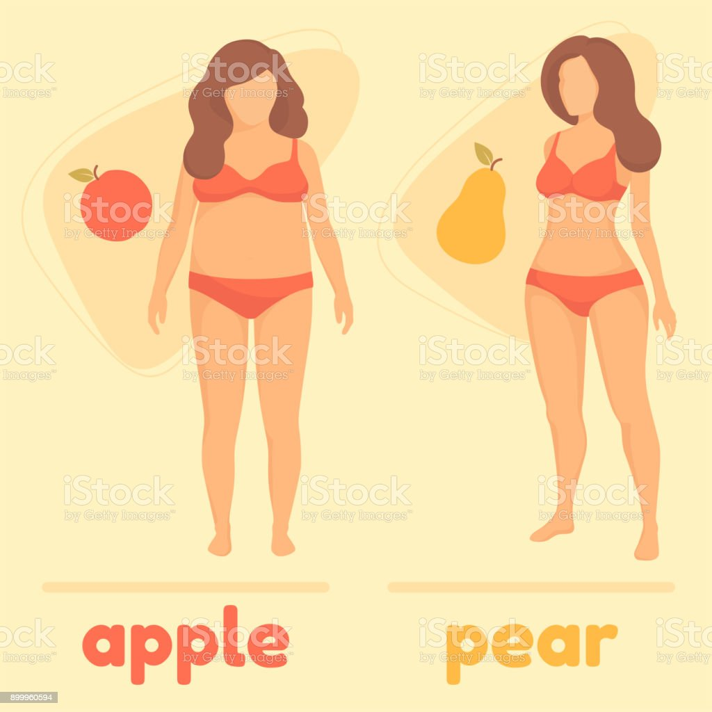 obesity woman body type, apple and pear vector art illustration