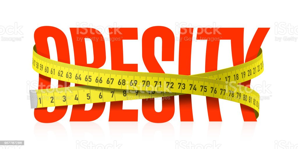Obesity word with measuring tape vector art illustration