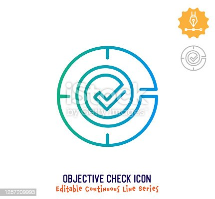 Objective check vector icon illustration for logo, emblem or symbol use. Part of continuous one line minimalistic drawing series. Design elements with editable gradient stroke line.