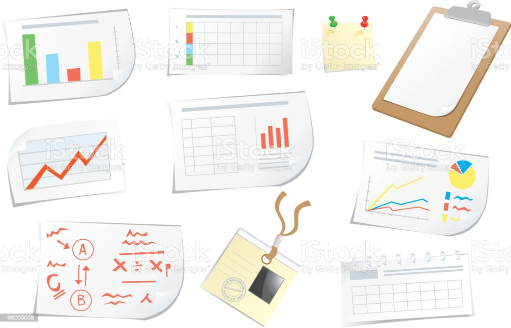 Objects and documents for business royalty-free stock vector art