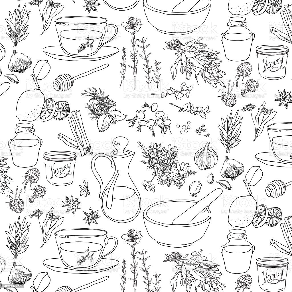 Objects and herbs to treat colds. vector art illustration