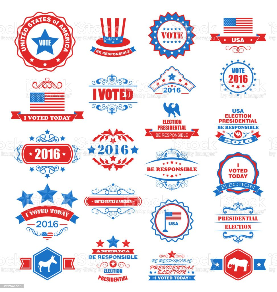 Objects and Symbols for Vote of USA vector art illustration