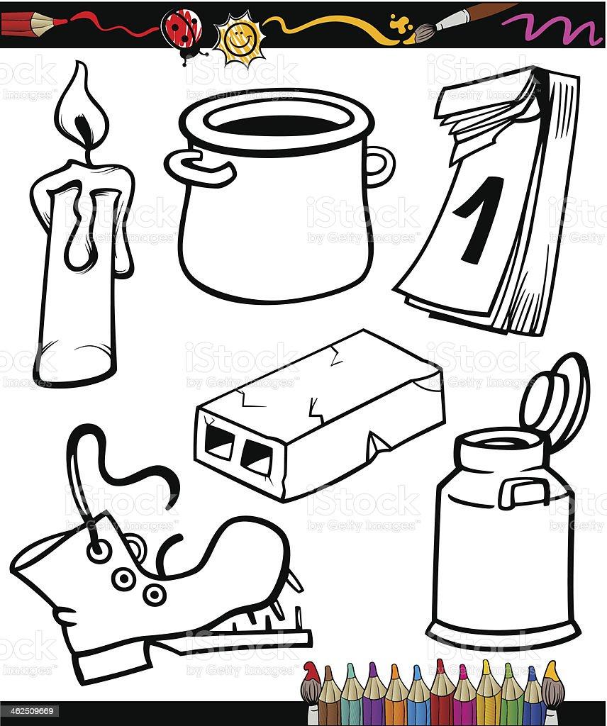 Conjunto De Objetos Para Colorear Libro De Historieta - Arte ...