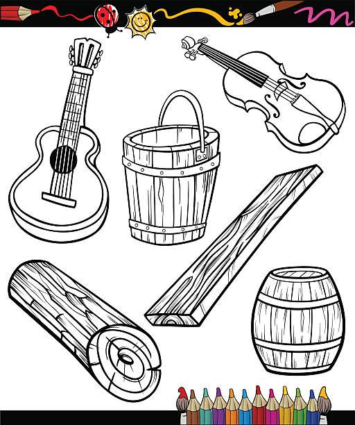 Vectores De Libro Para Colorear Con Los Ninos Instrumentos Musicales
