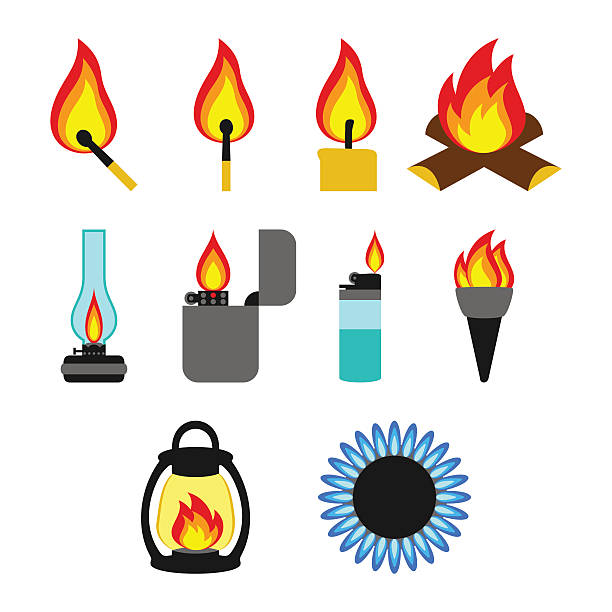 objects giving fire - feuerzeuggas stock-grafiken, -clipart, -cartoons und -symbole