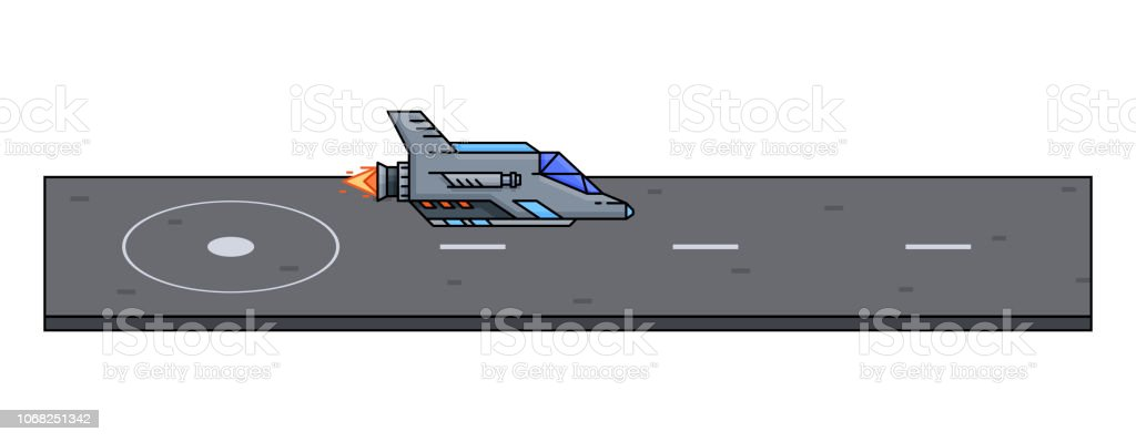 2 d のプラット フォーム ゲーム、ゲームのインターフェイス、8 ビット ゲーム, 飛ぶ宇宙船のオブジェクト。 ベクターアートイラスト