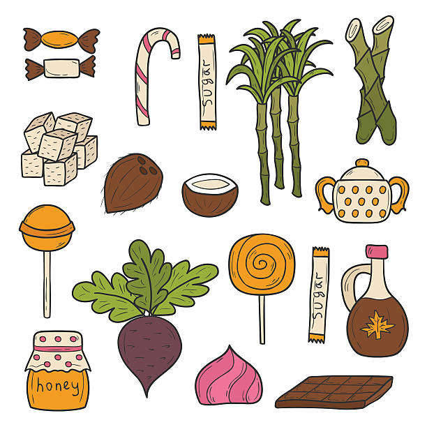 Objects on sugar type theme Set of cartoon cute hand drawn objects on sugar type theme maple syrup stock illustrations