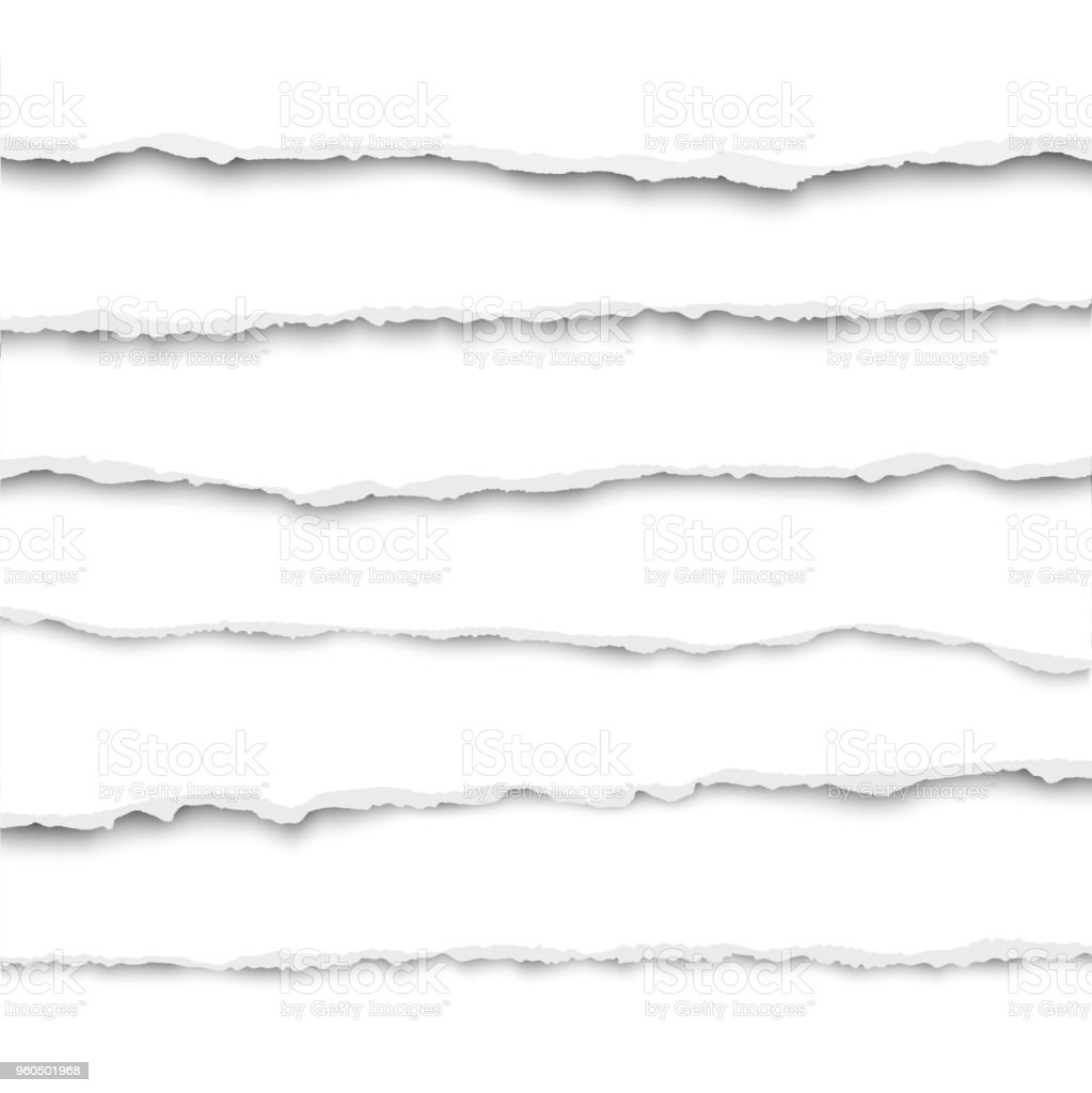 Oblong layers of torn white paper fragments placed one over another vector art illustration