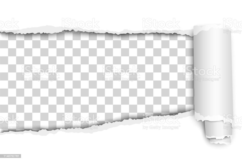 Oblong snatched hole in white sheet of paper from left side to right...
