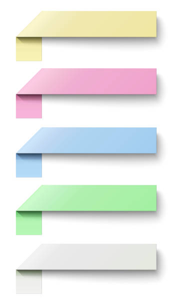 oblong sticky notes isolated on white background - post it notes stock illustrations