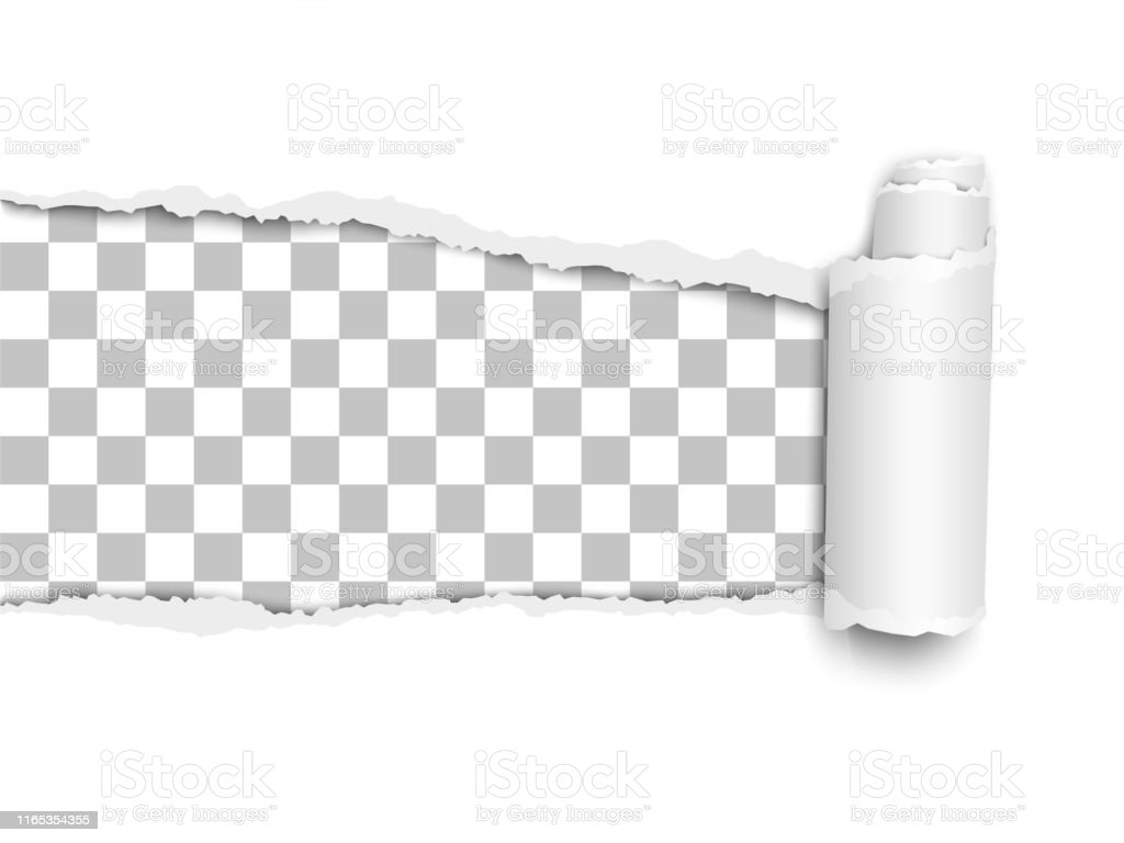 Oblong torn hole from left to right in white sheet of paper with...