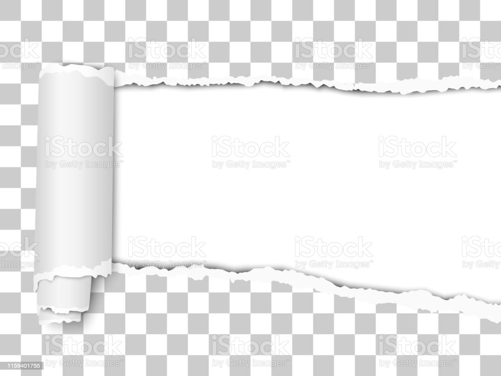 Oblong torn hole from right to left in transparent sheet of paper...