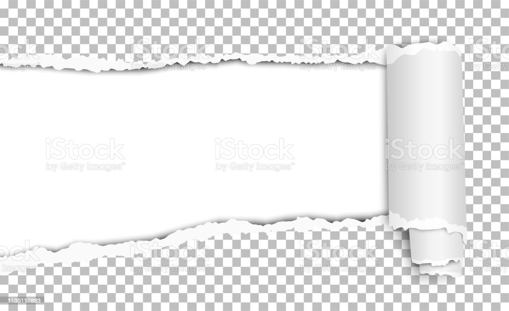 Oblong torn hole in transparent sheet of paper with shadow and paper...