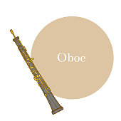 Oboe. Musical Instrument in Hand Drawn Style for Surface Design Fliers Prints Cards Banners. Vector Illustration