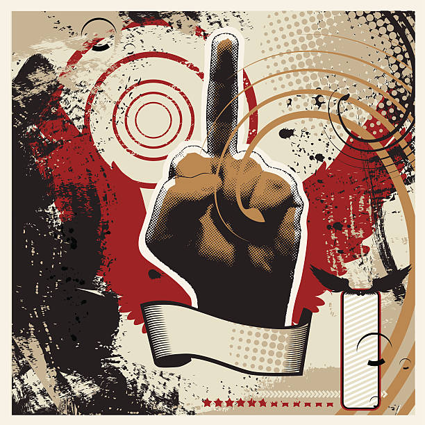 Obscene sign  middle finger stock illustrations