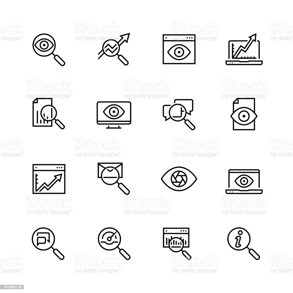 Observation and monitoring vector icon set in thin line style royalty-free observation and monitoring vector icon set in thin line style stock illustration - download image now