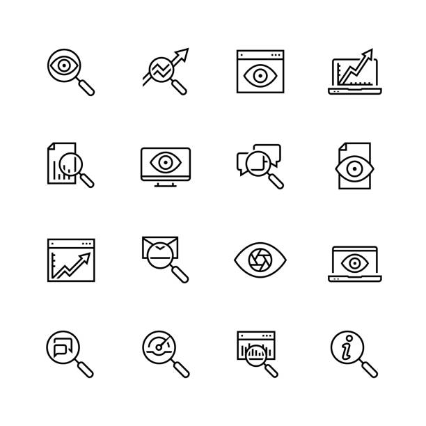 Observation and monitoring vector icon set in thin line style vector art illustration