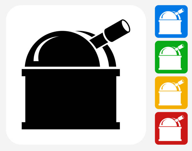 observatorium symbol flache grafik design - sternwarte stock-grafiken, -clipart, -cartoons und -symbole