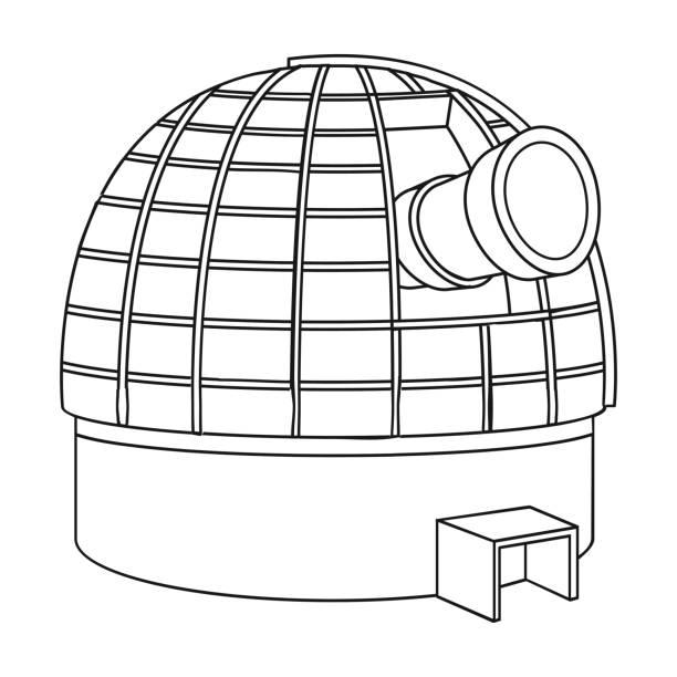 sternwarte-symbol im umriss-stil isoliert auf weißem hintergrund. raum-symbol-lager vektor-illustration. - sternwarte stock-grafiken, -clipart, -cartoons und -symbole