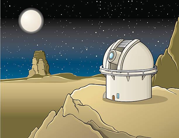 observatorium in der wüste - sternwarte stock-grafiken, -clipart, -cartoons und -symbole