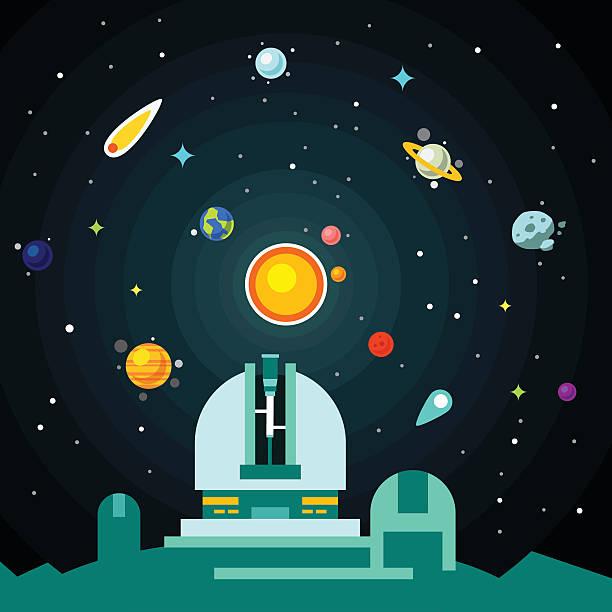 observatorium station, solar-system mit planeten - sternwarte stock-grafiken, -clipart, -cartoons und -symbole