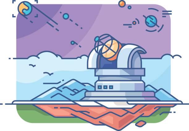 sternwarte mit teleskop - sternwarte stock-grafiken, -clipart, -cartoons und -symbole